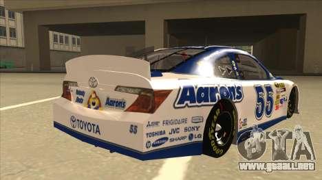 Toyota Camry NASCAR No. 55 Aarons DM white-blue para la visión correcta GTA San Andreas
