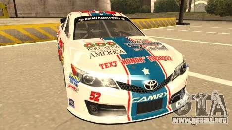 Toyota Camry NASCAR No. 52 TruckerFan para GTA San Andreas left