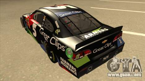 Chevrolet SS NASCAR No. 5 Great Clips para GTA San Andreas vista hacia atrás