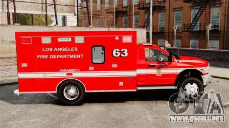 Dodge Ram 3500 2011 LAFD Ambulance [ELS] para GTA 4 left
