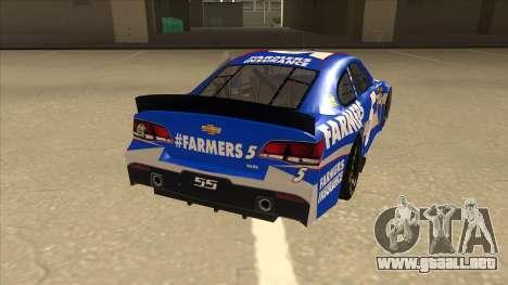 Chevrolet SS NASCAR No. 5 Farmers Insurance para la visión correcta GTA San Andreas