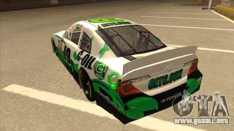 Toyota Camry NASCAR No. 19 G-Oil para GTA San Andreas vista hacia atrás