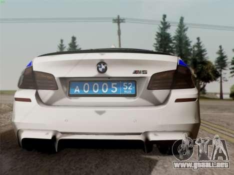 BMW M5 F10 INTERIOR OFICINA para la visión correcta GTA San Andreas