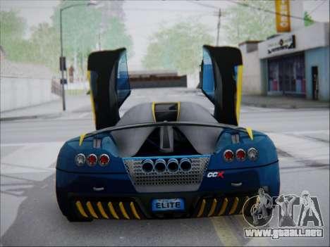 Koenigsegg CCX Elite para GTA San Andreas vista posterior izquierda