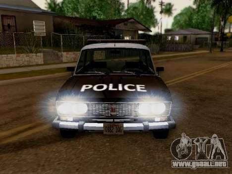 Policía de Los Santos 2106 VAZ para GTA San Andreas vista hacia atrás