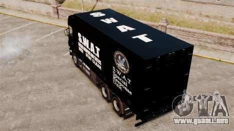 Nuevo camión SWAT para GTA 4 Vista posterior izquierda