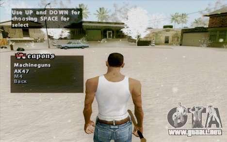 Weapons Menu Mod para GTA San Andreas segunda pantalla