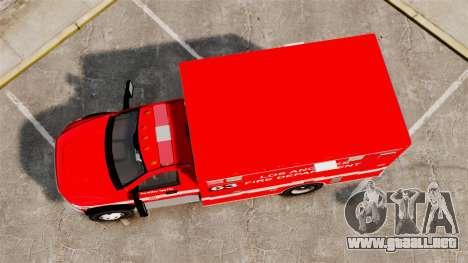Dodge Ram 3500 2011 LAFD Ambulance [ELS] para GTA 4 visión correcta