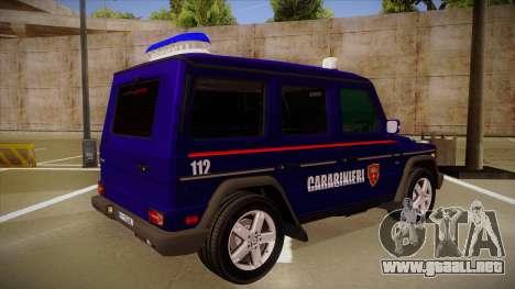 Mercedes Benz G8 Carabinieri para la visión correcta GTA San Andreas