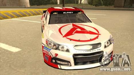 Chevrolet SS NASCAR No. 7 Sany para GTA San Andreas left