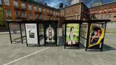 Publicidad real en las paradas de autobús para GTA 4