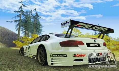 BMW M3 GT2 E92 ALMS para GTA San Andreas vista posterior izquierda