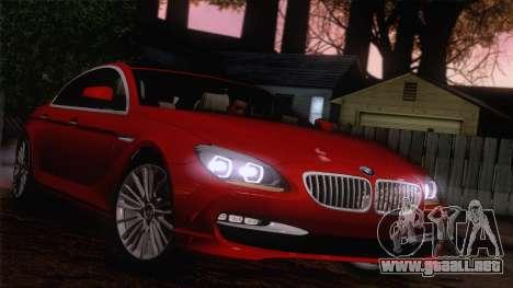BMW 6 Gran Coupe v1.0 para visión interna GTA San Andreas
