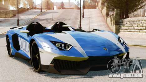 Lamborghini Aventador J Police para GTA 4 vista superior