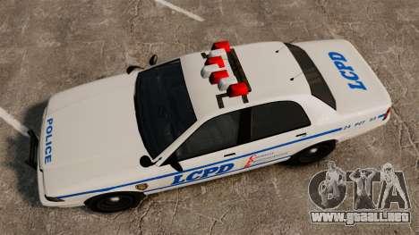 GTA V Police Vapid Cruiser LCPD para GTA 4 visión correcta