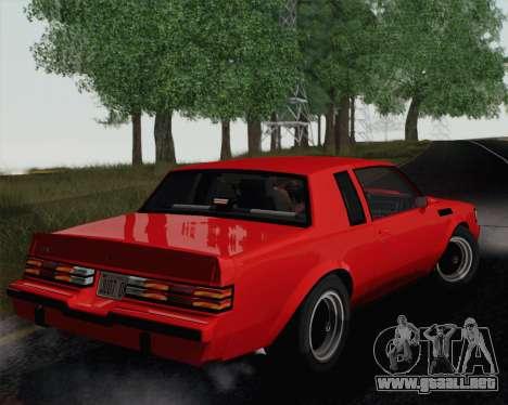 Buick GNX 1987 para GTA San Andreas vista hacia atrás