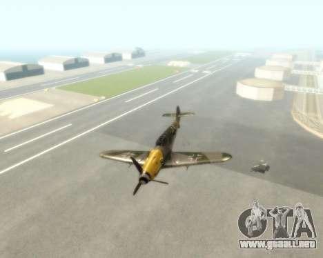Bf-109 G6 v1.0 para GTA San Andreas vista hacia atrás