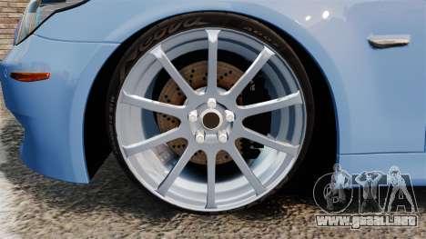 BMW M5 2009 para GTA 4 vista hacia atrás