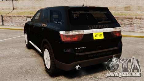 Dodge Durango 2013 Sheriff [ELS] para GTA 4 Vista posterior izquierda
