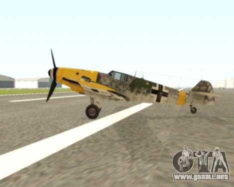 Bf-109 G6 v1.0 para GTA San Andreas vista posterior izquierda