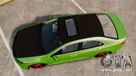 Acura TSX Mugen 2010 para GTA 4 visión correcta