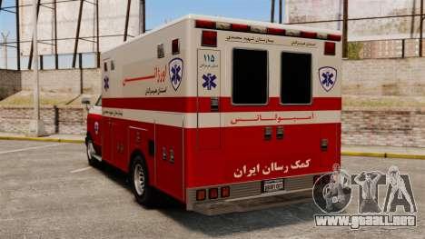 Ambulancia iraní para GTA 4 Vista posterior izquierda