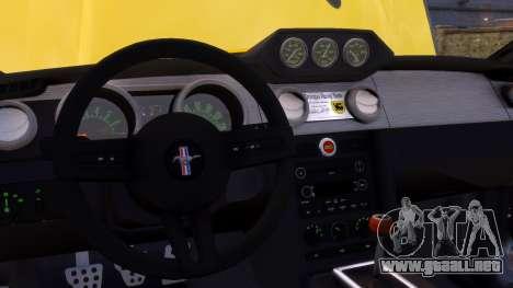 Shelby Terlingua Mustang para GTA 4 vista desde abajo