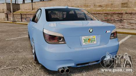 BMW M5 2009 para GTA 4 Vista posterior izquierda
