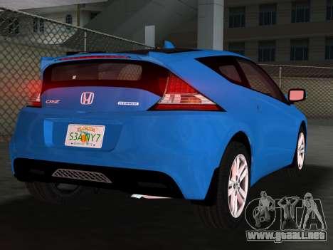 Honda CR-Z 2010 para GTA Vice City vista desde abajo