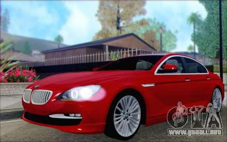 BMW 6 Gran Coupe v1.0 para GTA San Andreas vista hacia atrás