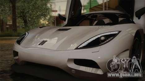 Koenigsegg Agera para GTA San Andreas interior