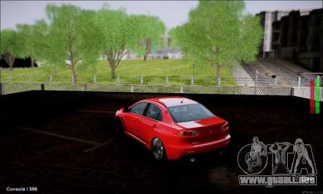 Mitsubishi Lancer Evolution X Stance Work para GTA San Andreas vista posterior izquierda