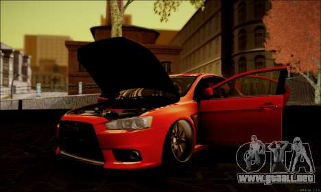 Mitsubishi Lancer Evolution X Stance Work para vista lateral GTA San Andreas