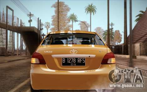 Toyota Vios 2008 para GTA San Andreas vista posterior izquierda