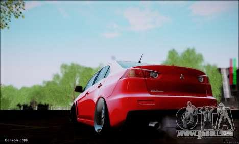 Mitsubishi Lancer Evolution X Stance Work para GTA San Andreas left