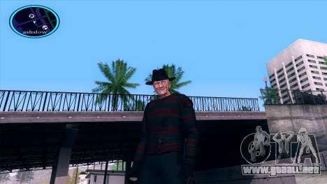 Freddy Krueger para GTA San Andreas sucesivamente de pantalla