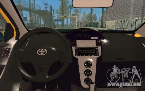 Toyota Vios 2008 para GTA San Andreas vista hacia atrás