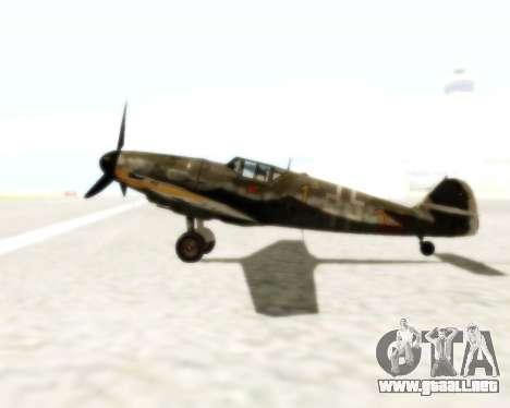 Bf-109 G6 para GTA San Andreas vista hacia atrás