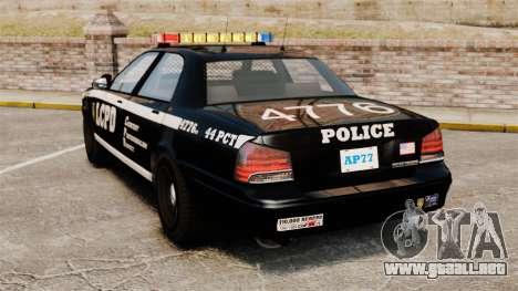 GTA V Vapid Police Cruiser [ELS] para GTA 4 Vista posterior izquierda