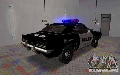 Chevrolet Camaro SS Police para GTA San Andreas vista posterior izquierda
