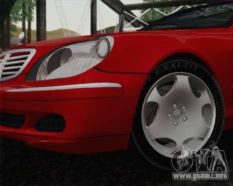 Mercedes-Benz S600 Biturbo 2003 para GTA San Andreas vista posterior izquierda