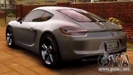Porsche Cayman 981 S v2.0 para GTA 4 vista hacia atrás
