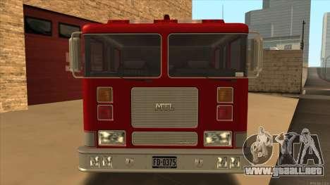 Firetruck HD from GTA 3 para GTA San Andreas vista posterior izquierda