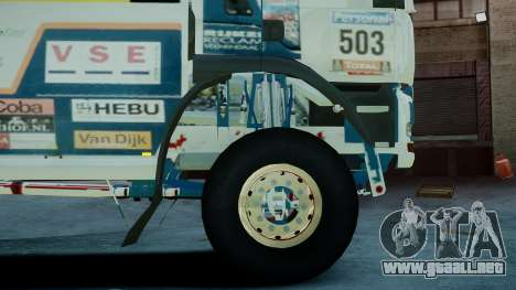MAN TGA GINAF Dakar Race Truck para GTA 4 Vista posterior izquierda