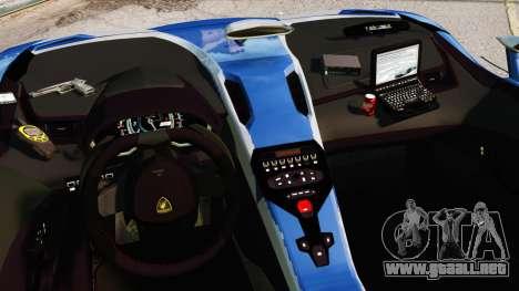 Lamborghini Aventador J Police para GTA 4 vista interior