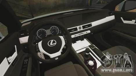 Lexus GS 350 2013 para GTA 4 vista interior