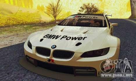 BMW M3 GT2 E92 ALMS para GTA San Andreas vista hacia atrás