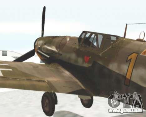 Bf-109 G6 para GTA San Andreas vista posterior izquierda