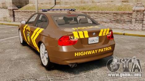 BMW 350i Indonesia Police v2 [ELS] para GTA 4 Vista posterior izquierda