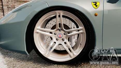 Ferrari 458 Italia 2009 para GTA 4 vista hacia atrás